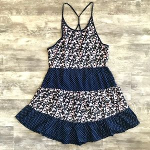 NWT En Crème S Blue Floral Polka Dot Mini Dress